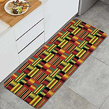 HASENCIV Floor Mat,Ethnic Pattern with Stripes