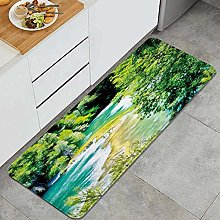 HASENCIV Floor Mat,Exquisite Jungle with Waterfall