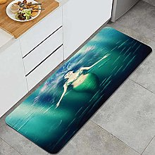 HASENCIV Floor Mat,Fairytale Mermaid with Fish in