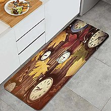 HASENCIV Floor Mat,Fall Clocks with Dry Leaves