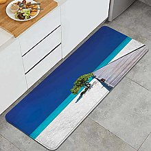HASENCIV Floor Mat,Fantastic Beach with Wooden