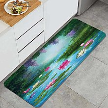 HASENCIV Floor Mat,Fantasy Pond with Water Lilies