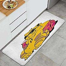 HASENCIV Floor Mat,Fat Tomcat with Glasses Lying