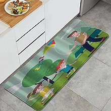 HASENCIV Floor Mat,Father Playing with Kids and