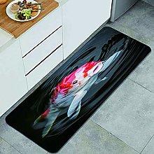 HASENCIV Floor Mat,Red Fish Japan Koi Carp in Pond