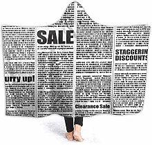 HATESAH Hoodie Blanket Warm Flannel,Four Newspaper