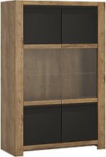 Havana 2 Door Display Cabinet in Black and Oak