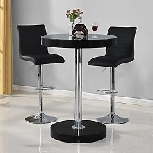Havana Bar Table In Black With 2 Ripple Black Bar
