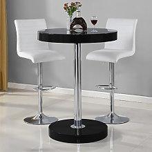 Havana Bar Table In Black With 2 Ripple White Bar