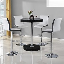 Havana Bar Table In Black With 4 Ritz White And