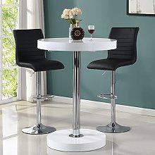 Havana Bar Table In White With 2 Ripple Black Bar