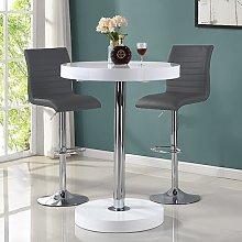 Havana Bar Table In White With 2 Ripple Grey Bar