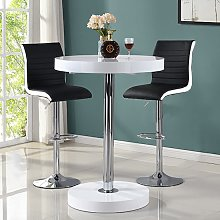 Havana Bar Table In White With 2 Ritz Black And