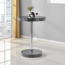 Havana Round Bar Table In Grey High Gloss