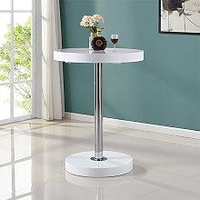 Havana Round Bar Table In White High Gloss