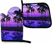 Hawaii Purple Palm Tree Sunset Hawaii Purple Palm