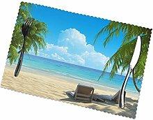 Hawaiian Beach With Palm Trees Print Dining Table