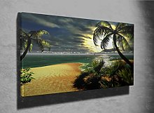 Hawaiian Sunset in Paradise Photo Canvas Print