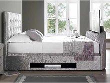 Hayden Ottoman Double TV Bed In Crushed Velvet