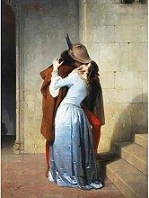 Hayez The Kiss Romantic Vintage Painting Large