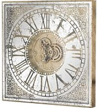 Haze Large Square Framed Mirrored Wall Clock In