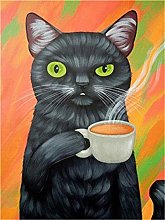 HCDZF Diy Canvas Kit for Adults Black cat drinking