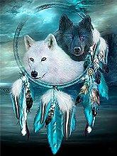 HCDZF DIY Oil Canvas Painting Wolf Dream Catcher