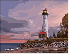 HCDZF Paint by Number Lonely Lighthouse DIY Oil