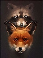 HCDZF Paint by Numbers for Adults Raccoon and Fox
