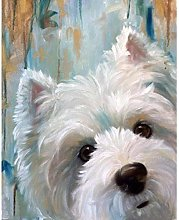 HCDZF Paint By Numbers Kits Cute Dog West Highland