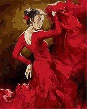 HCDZF Paint by Numbers Red Dancer House Number Kit