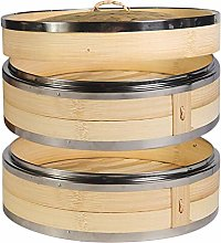 Hcooker 2 Tier Kitchen Bamboo Steamer with Double