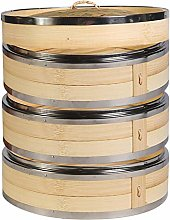 Hcooker 3 Tier Kitchen Bamboo Steamer with Double