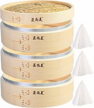 Hcooker Deepen 3 Tier Kitchen Bamboo Steamer with