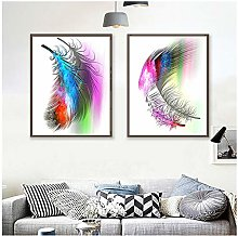 HD Print Canvas Painting Watercolor Feather