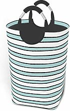 Hdadwy Blue Stripes 50L Large Laundry Basket with