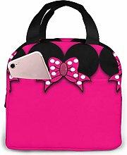 Hdadwy Minnie Bowknot Insulated Lunch Box Bag