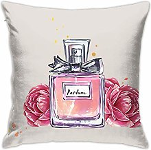 Hdadwy Perfume with Bowknot Roses Throw Pillow