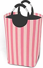 Hdadwy Pink Stripes 50L Large Laundry Basket with