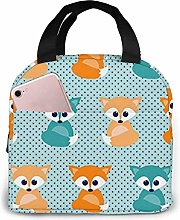 Hdadwy Portable Lunch Tote Bag Cute Baby Foxes