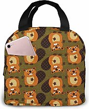 Hdadwy Portable Lunch Tote Bag Cute Beaver.JPG