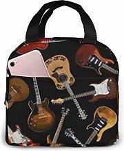 Hdadwy Portable Lunch Tote Bag Cute Guitars Black