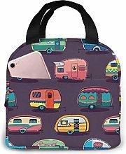 Hdadwy Portable Lunch Tote Bag Cute Happy Camper
