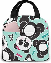 Hdadwy Portable Lunch Tote Bag Cute Panda Bears