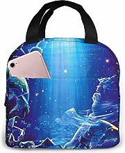 Hdadwy Portable Lunch Tote Bag Cute Pisces Lunch