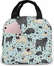 Hdadwy Portable Lunch Tote Bag Cute Pug Life Lunch