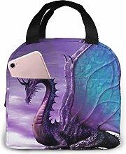 Hdadwy Portable Lunch Tote Bag Cute Purple Dragon
