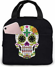 Hdadwy Portable Lunch Tote Bag Cute Sugar Skull