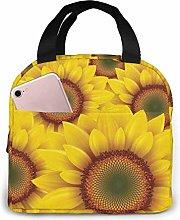 Hdadwy Portable Lunch Tote Bag Cute Sunflower (3)