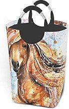 Hdadwy Watercolor Horse 50L Large Laundry Basket